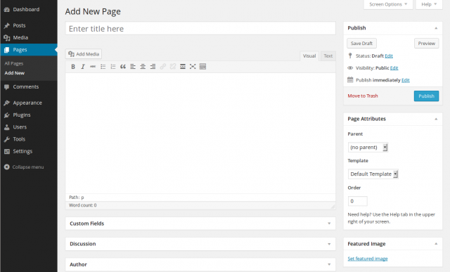 How to add new page to WordPress